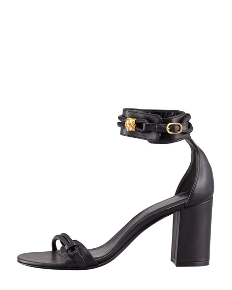 Chunky-Heel Ankle-Wrap Sandal with Skull Detail, Black