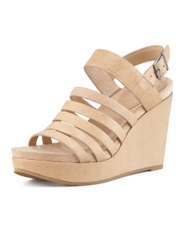 Eileen Fisher Plenty Strappy Wedge Sandal, Natural