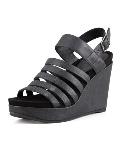 Eileen Fisher Plenty Strappy Wedge Sandal, Black