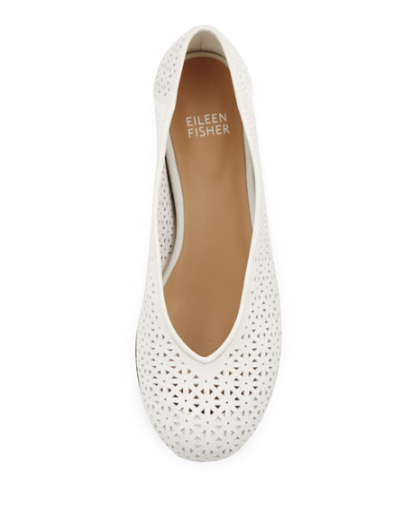 Patch Perforated Ballerina Flat, White