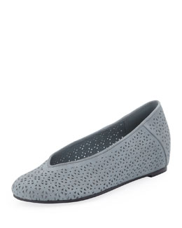 Eileen Fisher Patch Perforated Ballerina Flat, Washed Blue