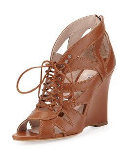 Miu Miu Lace-Up Leather Wedge Sandal, Tan