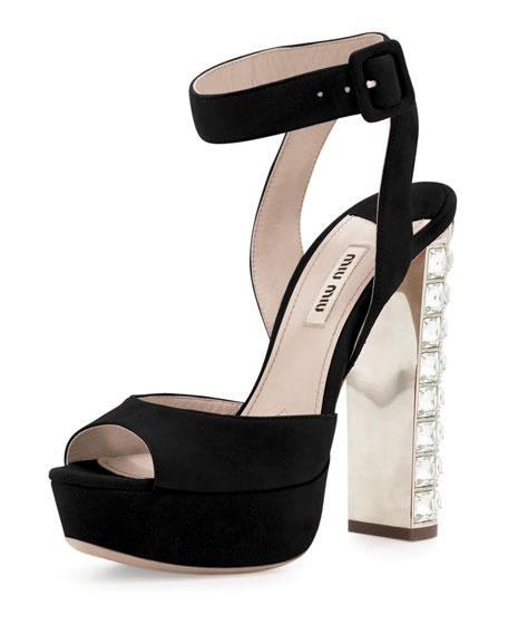 Suede Crystal-Heel Ankle-Wrap Sandal