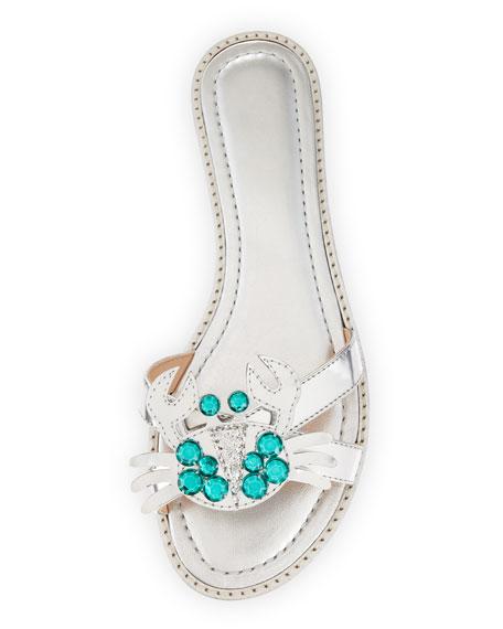 sebastian metallic crab-ornament sandal, silver