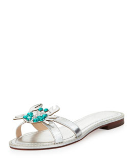 kate spade new york sebastian metallic crab-ornament sandal, silver