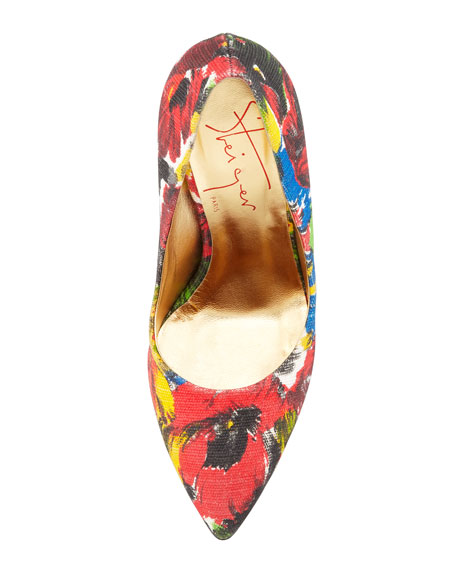 Floral Pointed-Toe Bowed-Heel Pump