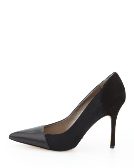 Desiree Mixed-Leather Pump, Black
