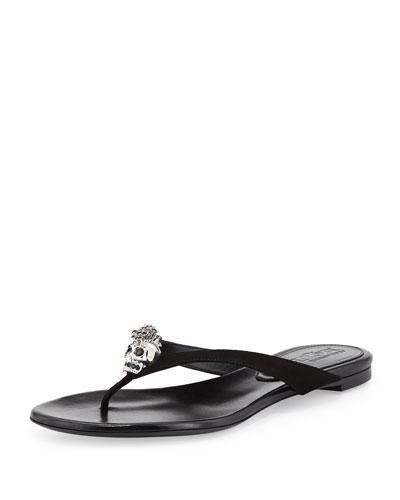 Alexander McQueen Skull-Detail Suede Thong Sandal, Blackbv                                                                          bv bv
