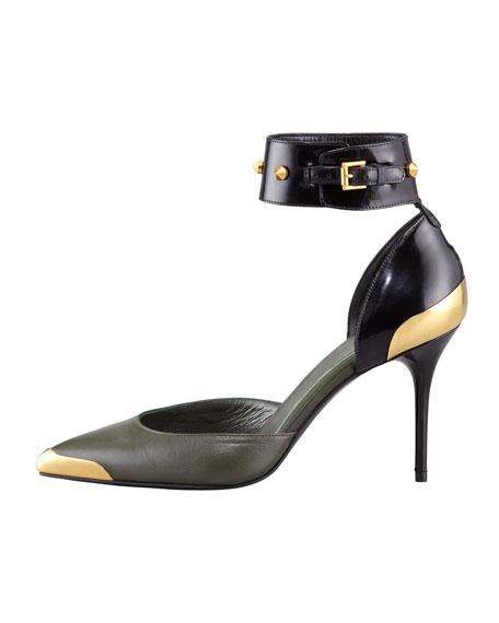 Bicolor Studded Ankle-Wrap Pump