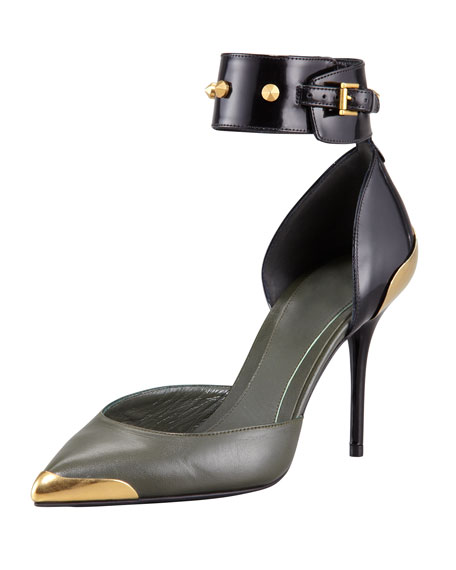 Alexander McQueen Bicolor Studded Ankle-Wrap Pump