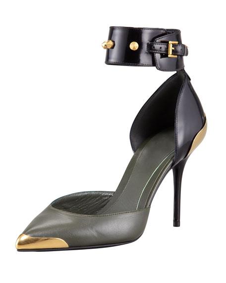 Alexander McQueen Bicolor Studded Ankle-Wrap Pump