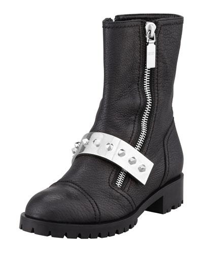 Alexander McQueen Leather Stud-Strap Moto Boot, Black