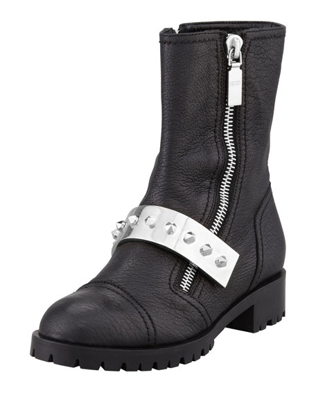 Leather Stud-Strap Moto Boot, Black