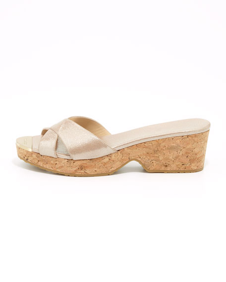 Panna Metallic Crisscross Slide Sandal