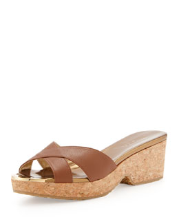 Jimmy Choo Panna Leather Crisscross Slide Sandal, Brown
