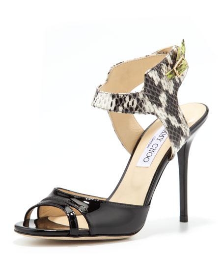 Marcia Patent/Snake Ankle-Wrap Sandal