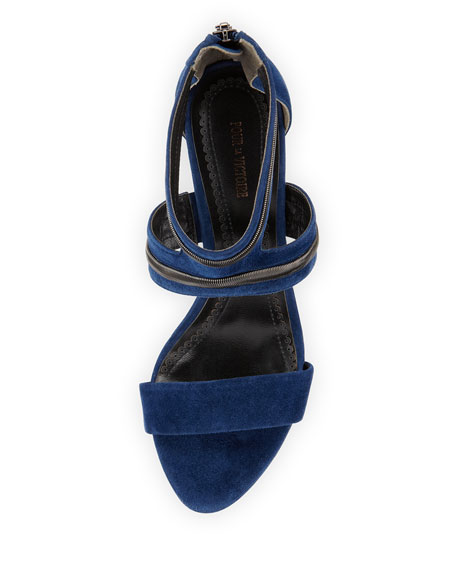 Belz Suede Chain-Trim Sandal, Midnight