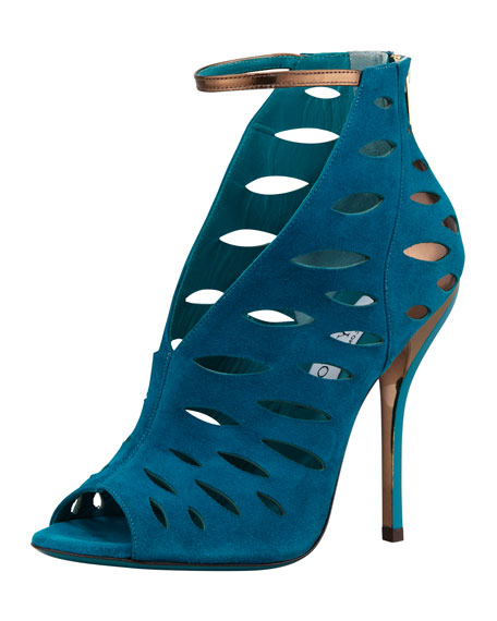 Tamera V-Neck Cutout Ankle-Wrap Sandal, Blue