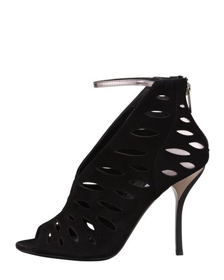Tamera V-Neck Cutout Ankle-Wrap Sandal, Black