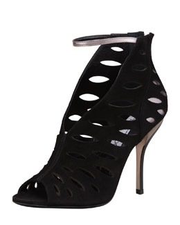 Jimmy Choo Tamera V-Neck Cutout Ankle-Wrap Sandal, Black