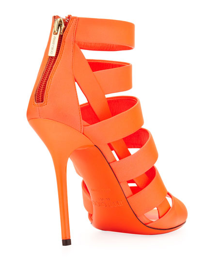 Dame Caged Leather Bootie, Neon Flame
