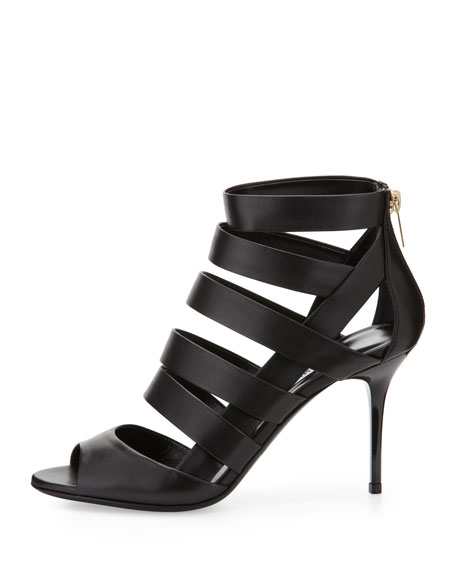 Duran Strappy Caged Bootie, Black