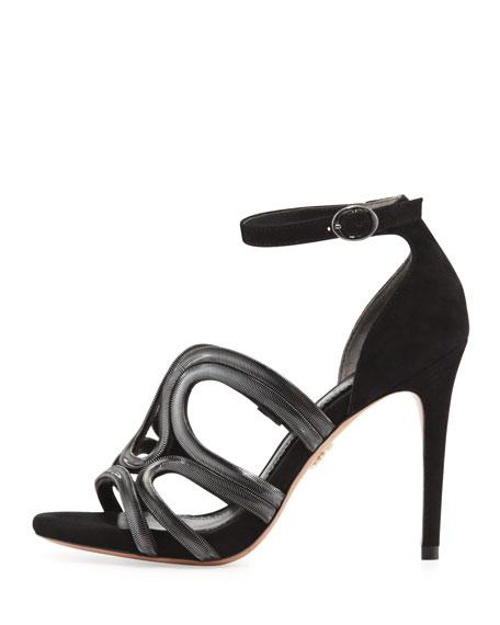 Vienne Suede Chain-Detail Sandal, Black
