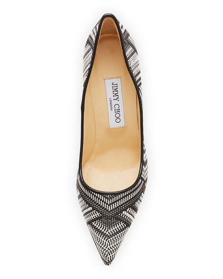 Abel Woven Point-Toe Pump, Black/White