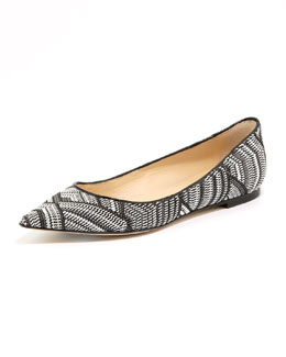 Jimmy Choo Alina Woven Point-Toe Flat
