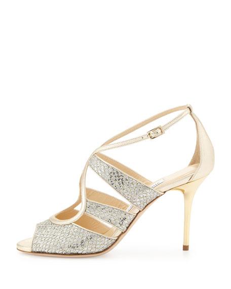 Kiera Metallic Glitter Sandal, Champagne