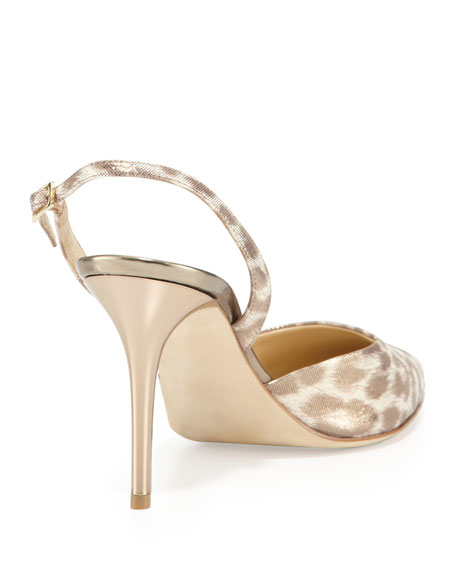 Tilly Leopard-Print Slingback Pump, Light Gold