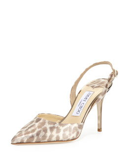 Jimmy Choo Tilly Leopard-Print Slingback Pump, Light Gold