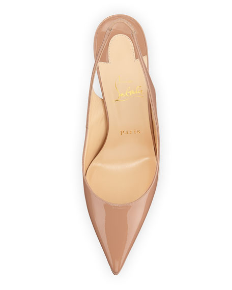 Apostrophy Red-Sole Slingback Pump, Beige