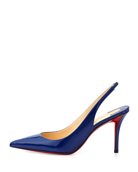 Apostrophy Red-Sole Slingback Pump, Neptune
