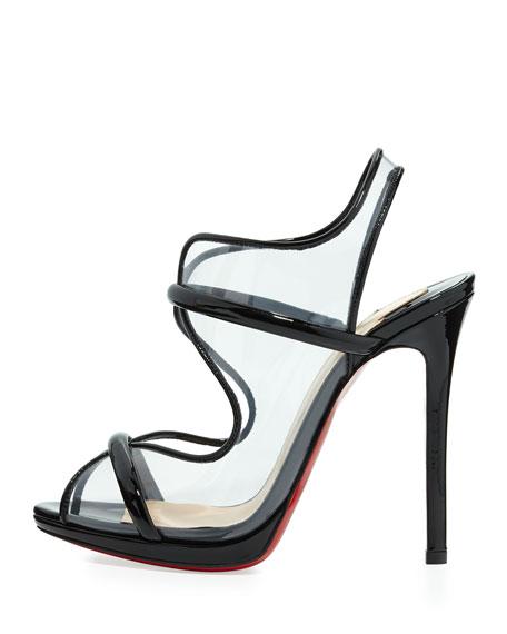 Aqua Ronda PVC Red Sole Sandal, Black