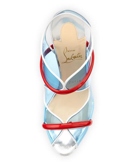 Aqua Ronda PVC Red Sole Sandal, Aquamarine