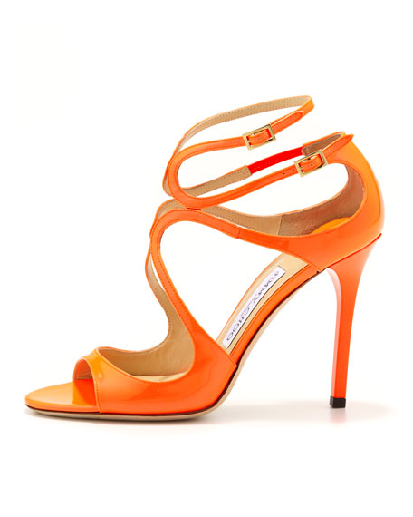 Lang Patent Strappy Sandal, Flame