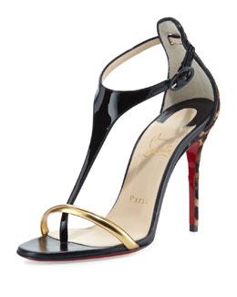 Christian Louboutin Athena Calf Hair T-Strap Sandal, Black