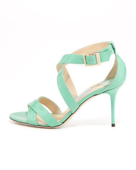 Louise Crisscross Patent Leather Sandal, Peppermint
