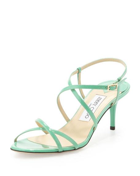 Elisa Low-Heel Patent Crisscross Sandal, Peppermint