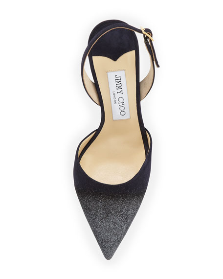 Tarida Glitter Suede Slingback Pump, Navy/Anthracite