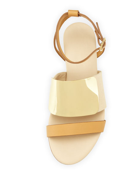 Metal Strap Leather Sandal, Nude