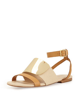 See by Chloe Metal Strap Leather Sandal, Nude