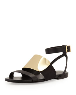 See by Chloe Metal-Vamp Flat Sandal, Black/Gold