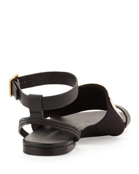 Metal-Vamp Flat Sandal, Black/Gold