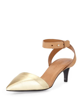 See by Chloe Ankle-Wrap d'Orsay Pump, Gold
