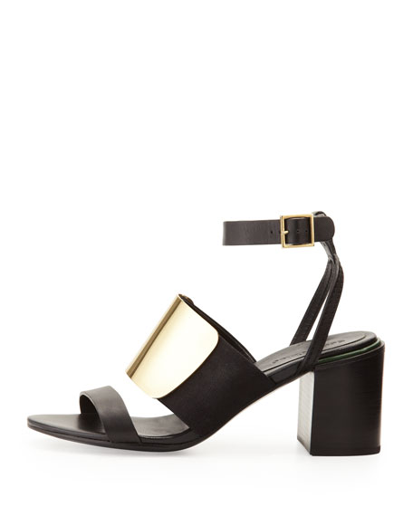 See by Chloe Metal-Vamp Stacked-Heel Sandal, Black/Gold