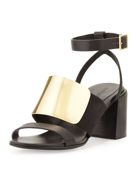 Metal-Vamp Stacked-Heel Sandal, Black/Gold