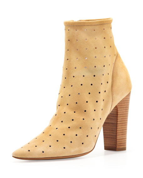 Suede Perforated Ankle Bootie