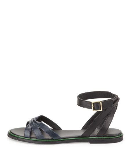 Two-Tone Leather Flat Sandal, Black/Navy